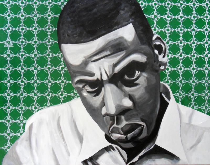 Shauwn Carter par Gary Storck, acrylique et posca sur toile, 60x80cm
