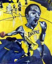 Lakers par Gary Storck, acrylique sur toile, 50x70cm