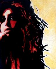 Amy Winehouse par Gary Storck, technique mixte sur toile, 3845cm
