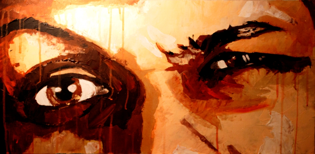 look at me by gary storck, 40 x 80 cm, acrylique